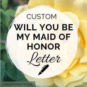 Will you be my maid of honour personal letter