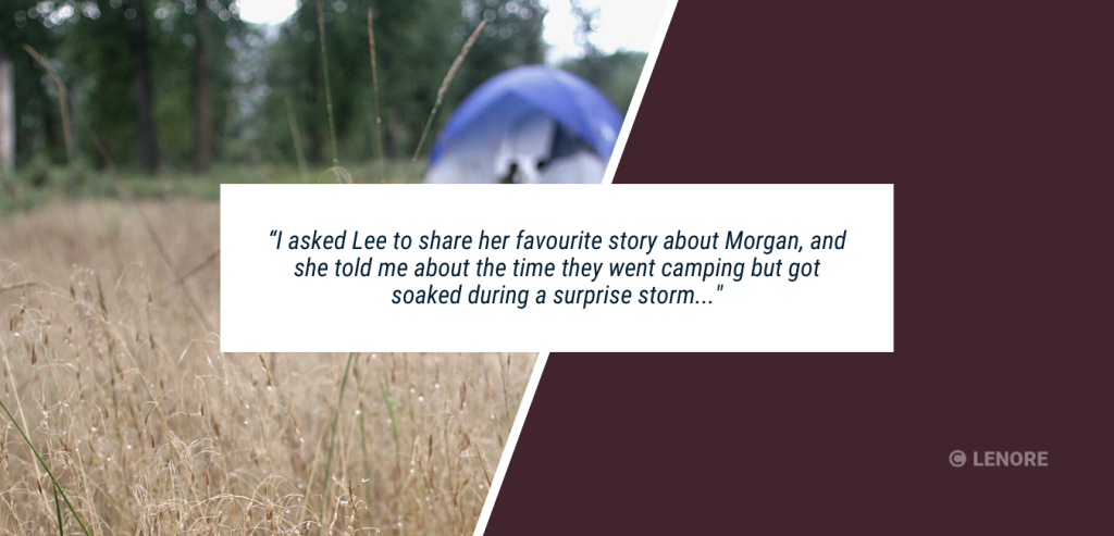 """Wedding Speech Example #1.  A photo of a tent in the middle of a rain storm with a caption that says, """"I asked Lee to share her favourite story about Morgan, and she told me about the time they went camping but got soaked during a surprise storm."""""""