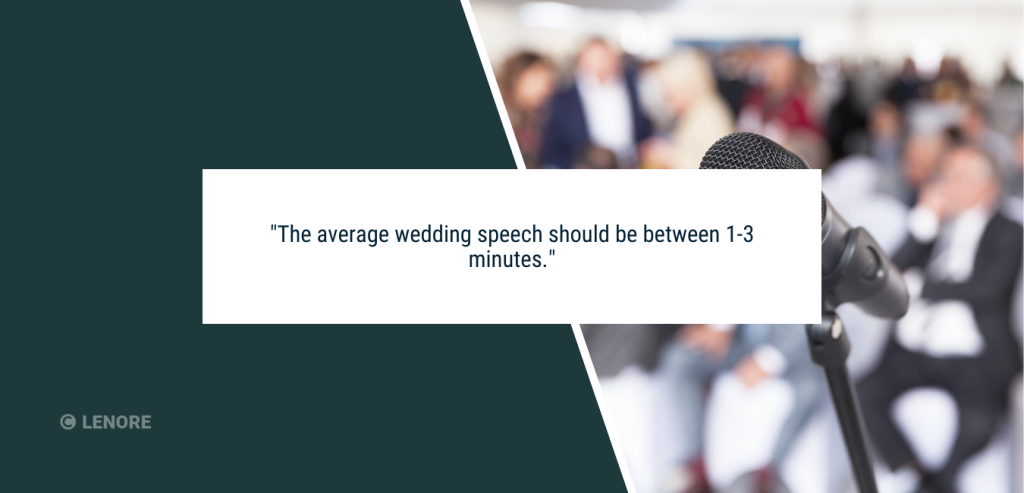 """A picture of a microphone at a wedding with text that says """"the average wedding speech should be between 1-3 minutes"""""""