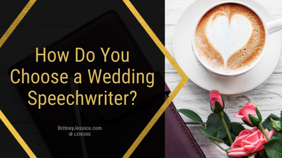 how to choose a wedding speech writer with a cup of coffee to the side of the text and coral roses below the coffee cup