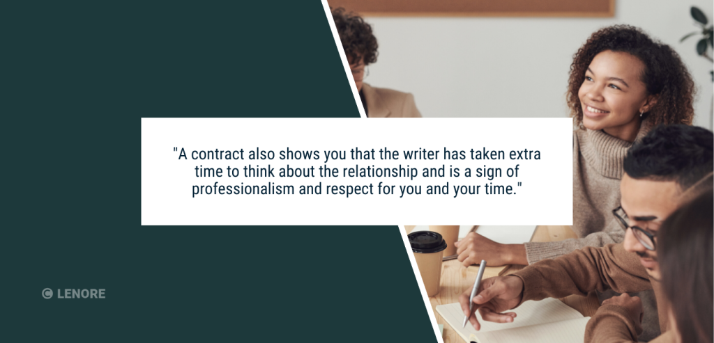 """Four people sitting at a table smiling and writing with text that reads: """"A contract also shows you that the writer has taken extra time to think about the relationship and is a sign of professionalism and respect for you and your time."""""""