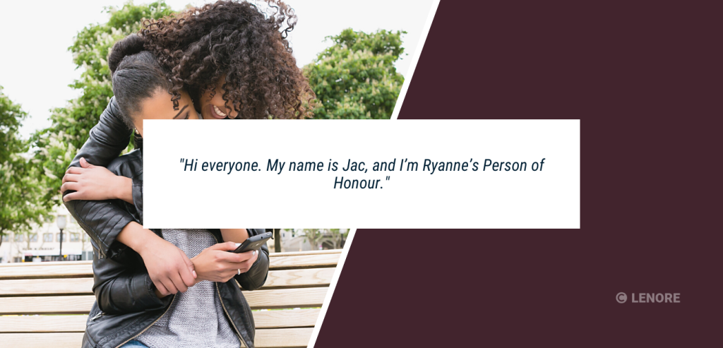 """Wedding speech example #1. Best friends outside hugging with the caption: """"Hi everyone. My name is Jac, and I'm Ryanne's Person of Honour."""""""
