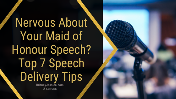 """text """"Are you giving a Maid of Honour speech, but are nervous about public speaking? Here are 7 speech delivery tips to help you calm your nerves!"""" the image is of a microphone at a wedding"""